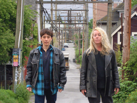 photo of Elaine and Eileen in a back alley in Vancouver
